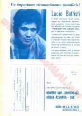 Cartolina celebrativa Numero Uno, 1971