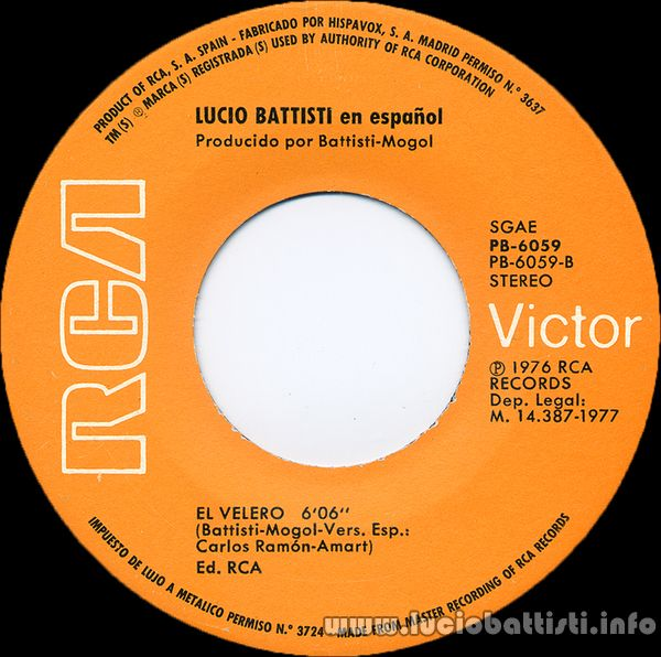Lucio Battisti El Velero Original Spanish Version From Il Veliero